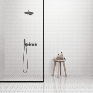 hexagon mosaic bathroom
