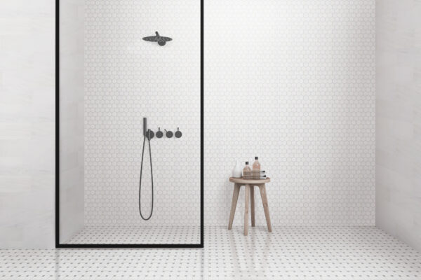 hexagon mosaic bathroom